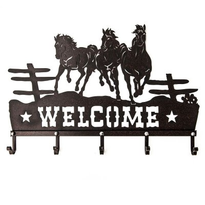 画像1: ランニングホース&スター ウエスタン ウェルカム ハンガー(ラストブラウン)/Metal Welcome Horse Welcome Hanger