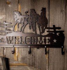 画像3: ランニングホース&スター ウエスタン ウェルカム ハンガー(ラストブラウン)/Metal Welcome Horse Welcome Hanger (3)