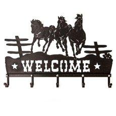 画像2: ランニングホース&スター ウエスタン ウェルカム ハンガー(ラストブラウン)/Metal Welcome Horse Welcome Hanger (2)