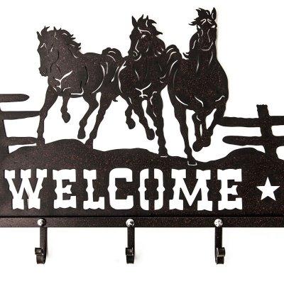 画像2: ランニングホース&スター ウエスタン ウェルカム ハンガー(ラストブラウン)/Metal Welcome Horse Welcome Hanger