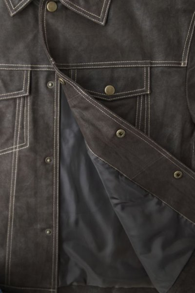 画像2: スカリー レザー ジージャンスタイル ジャケット(ダークブラウン)S/Scully Leather Jean Jacket(Dark Brown)