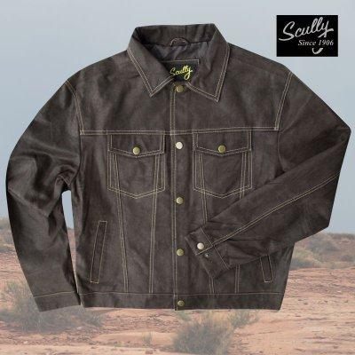 画像1: スカリー レザー ジージャンスタイル ジャケット(ダークブラウン)S/Scully Leather Jean Jacket(Dark Brown)