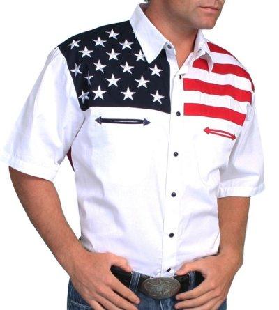 画像3: スカリー USA 刺繍シャツ(メンズ 半袖/アメリカンフラッグ)/Scully Short Sleeve Western Shirt