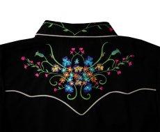 画像4: スカリー ラインストーン・フローラル刺繍 ウエスタンシャツ ブラック キャップスリーブM/Scully Western Shirt(Women's) (4)