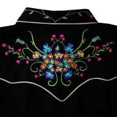 画像3: スカリー ラインストーン・フローラル刺繍 ウエスタンシャツ ブラック キャップスリーブM/Scully Western Shirt(Women's) (3)