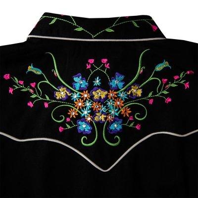 画像3: スカリー ラインストーン・フローラル刺繍 ウエスタンシャツ ブラック キャップスリーブM/Scully Western Shirt(Women's)
