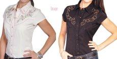 画像5: スカリー ラインストーン・フローラル刺繍 ウエスタンシャツ ブラック キャップスリーブM/Scully Western Shirt(Women's) (5)