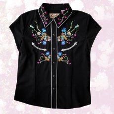 画像1: スカリー ラインストーン・フローラル刺繍 ウエスタンシャツ ブラック キャップスリーブM/Scully Western Shirt(Women's) (1)