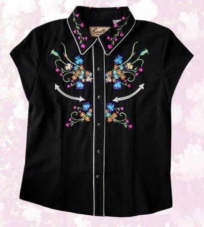 画像1: スカリー ラインストーン・フローラル刺繍 ウエスタンシャツ ブラック キャップスリーブM/Scully Western Shirt(Women's)