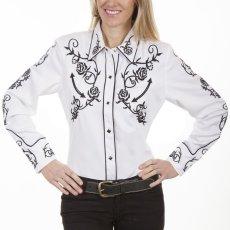 画像1: スカリー 刺繍 ウエスタン シャツ(長袖/ホワイト ブラック・ローズ)/Scully Long Sleeve Western Shirt(Women's) (1)