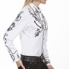 画像6: スカリー 刺繍 ウエスタン シャツ(長袖/ホワイト ブラック・ローズ)/Scully Long Sleeve Western Shirt(Women's) (6)