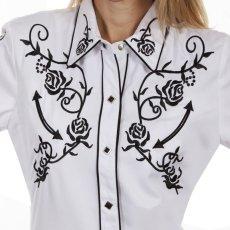 画像2: スカリー 刺繍 ウエスタン シャツ(長袖/ホワイト ブラック・ローズ)/Scully Long Sleeve Western Shirt(Women's) (2)