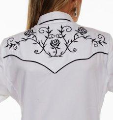 画像3: スカリー 刺繍 ウエスタン シャツ(長袖/ホワイト ブラック・ローズ)/Scully Long Sleeve Western Shirt(Women's) (3)
