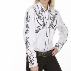 画像7: スカリー 刺繍 ウエスタン シャツ(長袖/ホワイト ブラック・ローズ)/Scully Long Sleeve Western Shirt(Women's) (7)