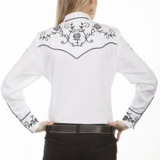 画像5: スカリー 刺繍 ウエスタン シャツ(長袖/ホワイト ブラック・ローズ)/Scully Long Sleeve Western Shirt(Women's) (5)