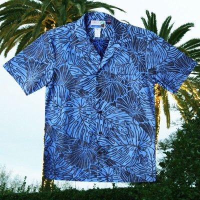 画像1: アロハシャツ リバースプリント(ブルー・ブラック)/Aloha Shirt