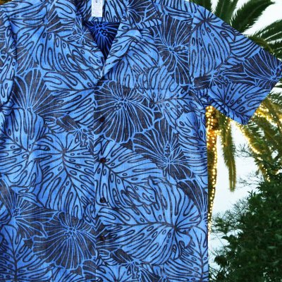 画像2: アロハシャツ リバースプリント(ブルー・ブラック)/Aloha Shirt