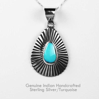 画像1: ナバホ ターコイズ&スターリングシルバー ネックレス/Navajo Handmade Turquoise&Sterling Silver Necklace
