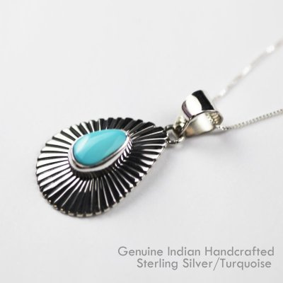 画像2: ナバホ ターコイズ&スターリングシルバー ネックレス/Navajo Handmade Turquoise&Sterling Silver Necklace