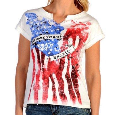 画像1: リバティーウエア アメリカンスピリット 星条旗デザイン 半袖Tシャツ(ホワイト)/Liberty Wear Short Sleeve T-shirt(Women's)