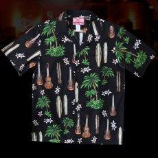 画像2: RJC ロバート・J・クランシー アロハシャツ ウクレレ・パームツリー・サーフボード(ブラック)/RJC ROBERT J. CLANCEY Aloha Shirt (2)