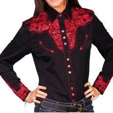 画像1: スカリー 刺繍 ウエスタン シャツ(長袖/ブラック・クリムゾン)/Scully Long Sleeve Western Shirt(Women's) (1)