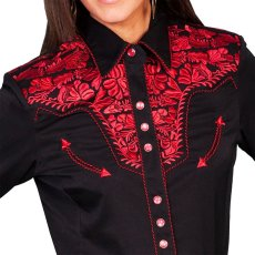 画像2: スカリー 刺繍 ウエスタン シャツ(長袖/ブラック・クリムゾン)/Scully Long Sleeve Western Shirt(Women's) (2)