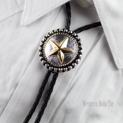 画像1: ボロタイ スター(シルバー・ゴールド・ブラック)/Western Bolo Tie Star