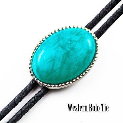 画像1: ウエスタン ボロタイ ロープエッジ ターコイズ/Western Bolo Tie
