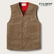 画像1: フィルソン マッキーノウールラインド ティンクロス クルーザー ベスト(ダークタン)XS/Filson Lined Cruiser Vest(Dark Tan) (1)