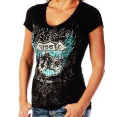 画像1: リバティーウエア ルート66 Ride ラインストーン&スタッズ 半袖Tシャツ(ブラック)/Liberty Wear Short Sleeve T-shirt(Women's) (1)