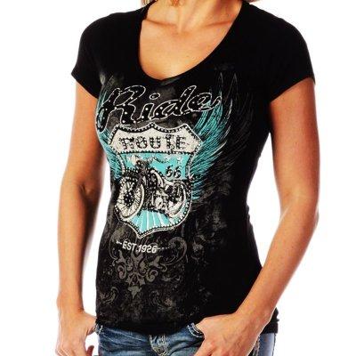 画像1: リバティーウエア ルート66 Ride ラインストーン&スタッズ 半袖Tシャツ(ブラック)/Liberty Wear Short Sleeve T-shirt(Women's)