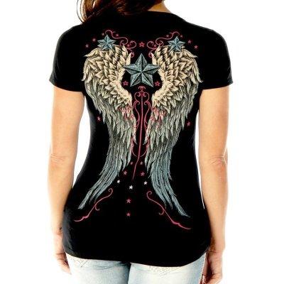画像3: リバティーウエア ラインストーン ハート・ビンテージウイング&スター 半袖Tシャツ(ブラック)/Liberty Wear Short Sleeve T-shirt(Women's)
