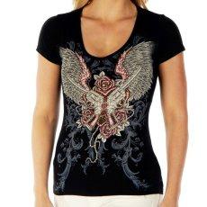 画像1: リバティーウエア ラインストーン 半袖Tシャツ ピストル・ローズ・ハート&ウイング(ブラック)/Liberty Wear Short Sleeve T-shirt(Women's) (1)