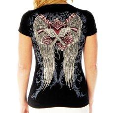 画像3: リバティーウエア ラインストーン 半袖Tシャツ ピストル・ローズ・ハート&ウイング(ブラック)/Liberty Wear Short Sleeve T-shirt(Women's) (3)
