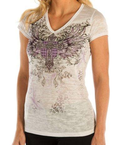画像2: リバティーウエア パープルラインストーン 半袖Tシャツ(ホワイト)/Liberty Wear Short Sleeve T-shirt(Women's)