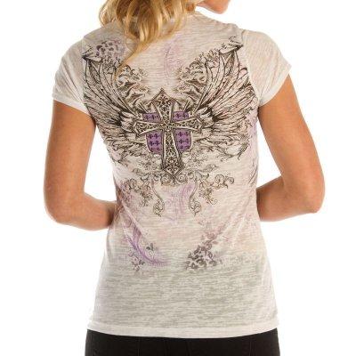 画像3: リバティーウエア パープルラインストーン 半袖Tシャツ(ホワイト)/Liberty Wear Short Sleeve T-shirt(Women's)