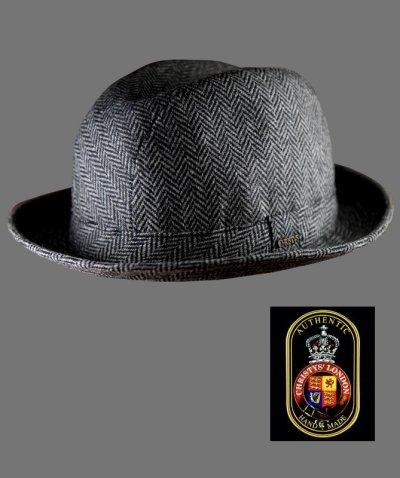 画像1: クリスティーズロンドン ヘリンボーン ウール ハット(チャコール)/Christys' London Wool Hat(Charcoal)