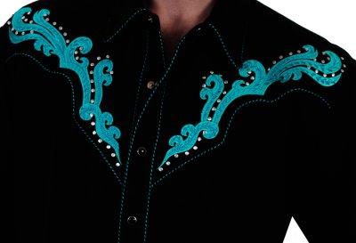 画像2: スカリー スクロール刺繍・メタルスタッズ・キャンディケイン ウエスタン シャツ(長袖/ブラック・ターコイズ)/Scully Long Sleeve Embroidered Western Shirt(Men's)