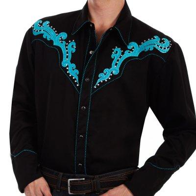 画像1: スカリー スクロール刺繍・メタルスタッズ・キャンディケイン ウエスタン シャツ(長袖/ブラック・ターコイズ)/Scully Long Sleeve Embroidered Western Shirt(Men's)