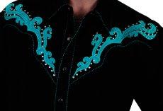 画像2: スカリー スクロール刺繍・メタルスタッズ・キャンディケイン ウエスタン シャツ(長袖/ブラック・ターコイズ)/Scully Long Sleeve Embroidered Western Shirt(Men's) (2)