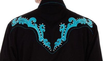 画像3: スカリー スクロール刺繍・メタルスタッズ・キャンディケイン ウエスタン シャツ(長袖/ブラック・ターコイズ)/Scully Long Sleeve Embroidered Western Shirt(Men's)