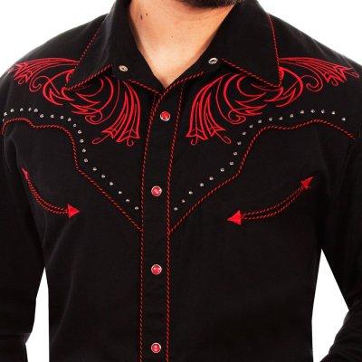 画像2: スカリー レッドスクロール刺繍・メタルスタッズ・キャンディケイン ウエスタン シャツ(長袖/ブラック・レッド)/Scully Long Sleeve Embroidered Western Shirt(Men's)