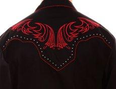 画像3: スカリー レッドスクロール刺繍・メタルスタッズ・キャンディケイン ウエスタン シャツ(長袖/ブラック・レッド)/Scully Long Sleeve Embroidered Western Shirt(Men's) (3)