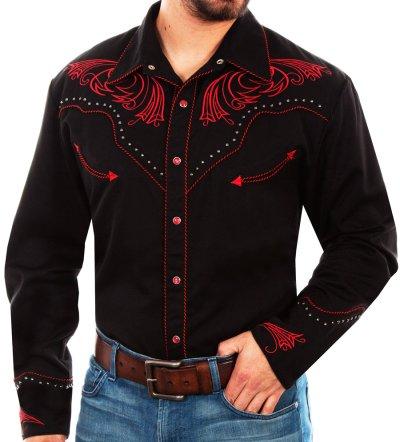 画像1: スカリー レッドスクロール刺繍・メタルスタッズ・キャンディケイン ウエスタン シャツ(長袖/ブラック・レッド)/Scully Long Sleeve Embroidered Western Shirt(Men's)