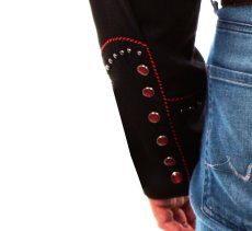 画像5: スカリー レッドスクロール刺繍・メタルスタッズ・キャンディケイン ウエスタン シャツ(長袖/ブラック・レッド)/Scully Long Sleeve Embroidered Western Shirt(Men's) (5)