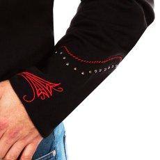画像4: スカリー レッドスクロール刺繍・メタルスタッズ・キャンディケイン ウエスタン シャツ(長袖/ブラック・レッド)/Scully Long Sleeve Embroidered Western Shirt(Men's) (4)