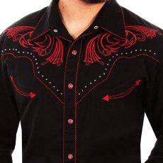 画像2: スカリー レッドスクロール刺繍・メタルスタッズ・キャンディケイン ウエスタン シャツ(長袖/ブラック・レッド)/Scully Long Sleeve Embroidered Western Shirt(Men's) (2)