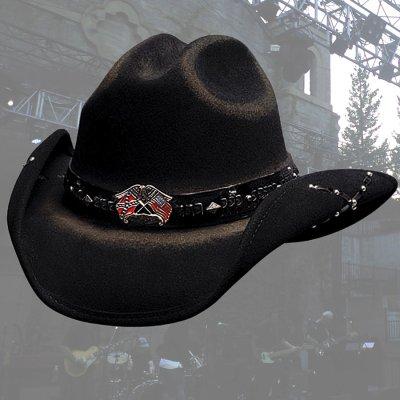画像1: ブルハイド カウボーイハット(南軍旗・星条旗)/Bullhide Western Wool Hat(Southern Rizin'/Black)