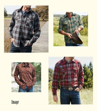 画像3: ペンドルトン  ピュアーヴァ-ジンウール ウエスタンシャツ(ブルー・ブラウンストライプ)M/Pendleton Western Shirt(Blue/Brown Stripe)